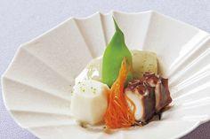 炊き合わせは丸茄子・蛸柔らか煮・小芋・モロッコインゲン
