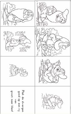 * Plak de kabouters van... Coloring Pages For Kids, Adult Coloring, Seven Dwarfs, Line Patterns, Fairy Tales, Mickey Mouse, Cartoon, Disney, Projects