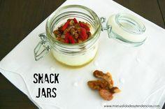 Las mejores #meriendas para llevar: #snack jars  www.manualidadesytendencias.com  #masonjar #meriendas #recetassanas #cocinasana #vegan #vegatariano