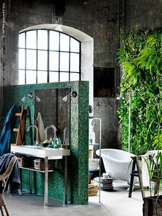Industrial bathroom interior design with living wall from. Ikea, it is really! Bohemian Bathroom, Industrial Bathroom, Industrial Loft, Industrial Design, Industrial Furniture, Industrial Lighting, Industrial Restaurant, Industrial Farmhouse, Vintage Industrial