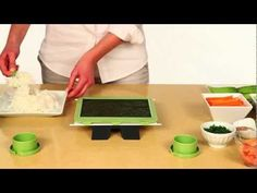 SushiQuik: is a lot more then just sushi, it's a lifestyle, it's a healthier way of eating. Whatever ingredients you like, you can roll them with SushiQuik. We designed it so that anybody can use it, even kids. Guaranteed to work the first time!    One of the hardest things to do as a beginner is spreading the right amount of rice. Our solution, the training frame, which helps keep the nori sheet in place and measures the exact amount of rice needed. Spreading the sticky rice is also an