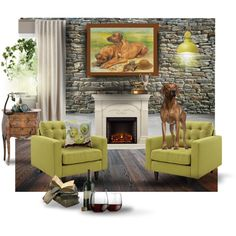 High-born. Original oil painting showing a pair of dogs Rhodesian ridgeback with an old and modern forniture.  #art  #painting #dog #rhodesianridgeback #homedesign  #petportrait  #green #apple #pillow #fireplace #antique #originalart #moredn #contemporary #CanisArtStudio