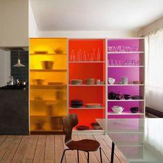 colored acrylic backing on ikea bookshelves?