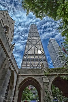 Looking up at the John Hancock Tower in Chicago from the grounds of the Fourth Presbyterian Church.