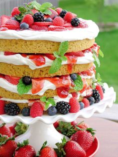 Strawberry Shortcake with Mixed Berries - thinking of making this for the 4th this year.