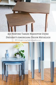 $10 Nesting Tables Makeover With DecoArt Americana Decor Metallics...the perfect way to give a pick-me-up to thrifted finds! I love these dipped legs.