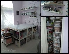 "IKEA hacked sewing room.  I've thought about doing something like this with the 2x4 Expedit bookcases and some 8"" legs"