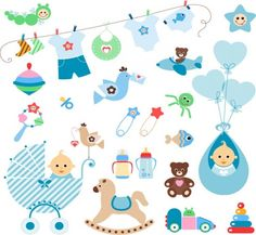 cute baby elements vector set