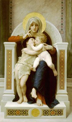 William Adolphe Bouguereau 1825-1905)  La Vierge, L'Enfant Jesus et Saint Jean Baptiste  Oil on canvas  1875