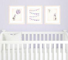 Purple Nursery Art Prints, Baby Girl Nursery Decor Set of 3 8x10 Prints, Purple Nursery Decor, Watercolor Illustrations and Bunting on Etsy, $50.00
