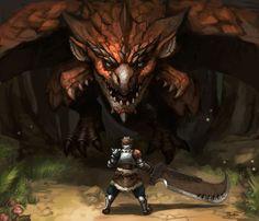 Monster Hunter: Rathalos Vs Hunter by FonteArt.deviantart.com on @DeviantArt