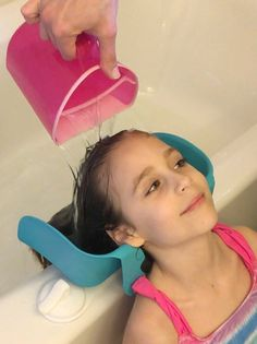 Parenting hack! Cool new product for rinsing shampoo. Just like getting your hair washed at the salon! It turns your bath tub or kitchen sink into a salon sink.