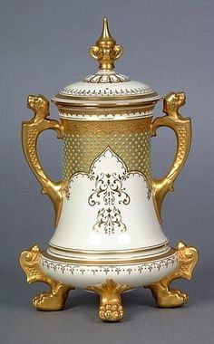 Antique Vintage Coalport Porcelain (Shropshire, England) — Vase and Cover, c.1891. Pinned from darwincountry.org