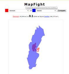 Jämför länders storlek direkt på nätet #digiskol http://mapfight.appspot.com/dk-vs-se/denmark-sweden-size-comparison