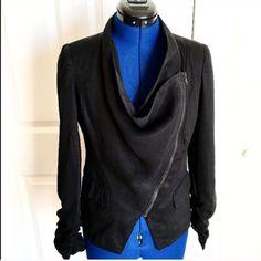 Asymmetrical Zip Black Jacket