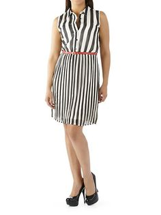 dots: Striped Button Down Dress with Belt