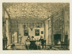 """Sussex, Wakehurst, the Hall, 1849 / 1872 """"Hall, Wakehurst, Sussex"""" tinted stone lithograph after a drawing by Joseph Nash (originally published about 1849), published in Southeran's edition of The Mansions of England in the olden time, 1872. Good condition. Size 29 x 22 cms including title, plus margins. Ref G3774"""