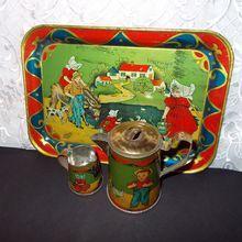 AMSCO Lithograph Tin Tea Set Tray, Pitcher, Creamer - Children, Dog, Cat