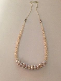 Dainty Kumihimo necklace with pearls and beads