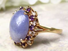 Vintage Lavender Jadeite Amethyst & Diamond Ring 14K Yellow Gold Unique Lady Di Style Alternative Engagement Ring Diamond Wedding Ring!