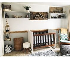 10 Ways To Create A Rustic Nursery is part of Rustic baby boy nursery - From woodpaneled walls to antler accents, we found the right ways to go rustic Baby Bedroom, Baby Boy Rooms, Baby Boy Nurseries, Nursery Room, Kids Bedroom, Nursery Decor, Rustic Nursery Boy, Nursery Design, Woodland Nursery