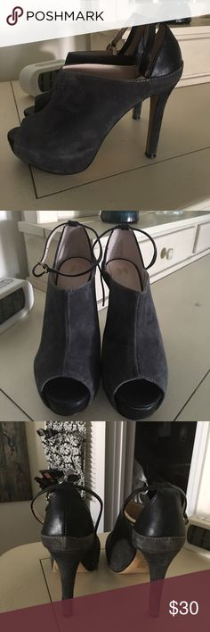Charcoal gray suede platforms Grey and black leather gorgeous platforms , can be worn with or without ankle straps. Perfect condition! Victoria's Secret Shoes Platforms