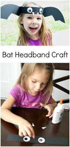 Bat Headband Halloween Craft for Preschool. Kids' bat craft. #halloween #kidscrafts #preschool #kindergarten