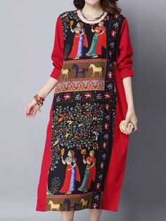Women Folk Style Printed Long Sleeve O-neck Loose Dresses