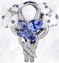 Anillo en platino, ópalo blanco, diamantes, zafiros, tanzanites, establecidos estafa Una Tanzanita talla cojín