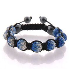 Blue flame, gradient crystal beads on black cord.