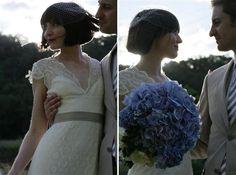 Blue hydrangea wedding bouquet with ivory and khaki, beautiful