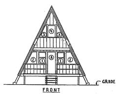 Free A Frame Cabin Plan with 3 Bedrooms:  This A Frame Cabin Plan is from USDA / LSU / NDSU / MSU / U of Maryland and was developed in 1963