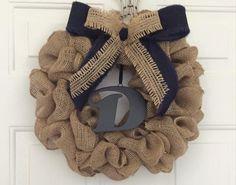 Front Door Navy & Tan Personalized Burlap Wreath by GiGiCraftTable