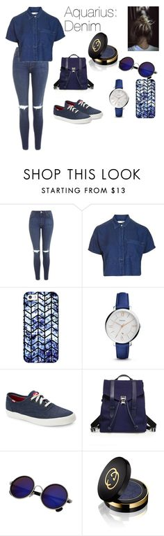 """""""Denim Days"""" by gryffindor-designer on Polyvore featuring Topshop, Casetify, FOSSIL, Keds, Proenza Schouler and Gucci"""