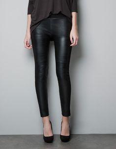 FAUX LEATHER LEGGINGS - Trousers - Woman - ZARA