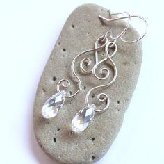 Silver Swirl Crystal Teardrop Earrings - Sterling Silver Filled Wire Wrapped - Swarovski Briolette - Elven Elvish Jewelry