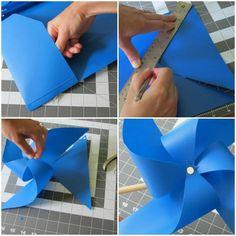 Plastikmappe wird zu einem Windrad - Anleitung