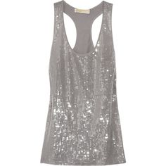 MICHAEL Michael Kors Sequin-Embellished Silk-Georgette Tank ($85) ❤ liked on Polyvore featuring tops, shirts, tank tops, tanks, blusas, women, sheer tank, sequin tank top, gray tank and sheer shirt