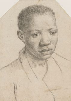 Annibale Caracci - African Youth Italy (c. 1595) Black chalk on paper