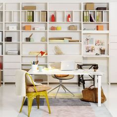 A colorful workspace - Going home to roost Corner Furniture, Office Furniture, Cool Furniture, Furniture Design, Furniture Ideas, Home To Roost, Bookcase Shelves, Contemporary Office, Lund