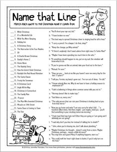 christmas games Name this line - Christmas Movie Game, Funny Christmas Games, Xmas Games, Printable Christmas Games, Holiday Party Games, Xmas Party, Christmas Humor, Winter Christmas, Holiday Fun, Christmas Office Games