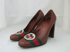 Gucci  GG  Silver Logo Brown Classic Pumps Heels Shoes Size 7B Made in Italy | eBay