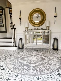 For my Transitional Style Foyer Reveal I wanted a round rug for the center of the foyer to give a break in the tile. The print and quality is beautiful. It does also come in other shapes and size options. Head to my blog at houseofleoblog.com to see more on my remodel. #roundrug#transitionalstyle#modernfarmhouse#blackscones#blacklanterns#ceramictile#grayblacktile Grand Entryway, Foyer, Entryway Decor, Modern Farmhouse Style, Modern Farmhouse Kitchens, Farmhouse Chic, Bathroom Rug Sets, Bathroom Trends, Transitional House