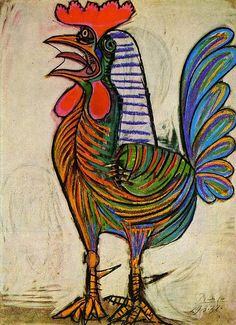 Pablo Picasso The Cock 1938 art painting for sale; Shop your favorite Pablo Picasso The Cock 1938 painting on canvas or frame at discount price. Pablo Picasso, Kunst Picasso, Art Picasso, Picasso Paintings, Animal Paintings, Oil Paintings, Picasso Guernica, Indian Paintings, Abstract Paintings