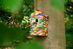 Lego bird house – a colourful addition to your garden.