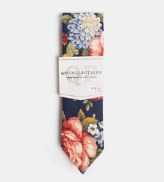 Floral Bleu Necktie | With dark blue cotton canvas, this floral-printed tie takes yo... | Neckties