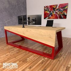 Modern asymmetric waterfall edge desk IndustrialReclaim Modern asymmetric waterfall edge desk In Steel Furniture, Table Furniture, Modern Furniture, Furniture Design, Modern Chairs, Furniture Stores, Modern Wood Desk, Furniture Buyers, Modern Loft