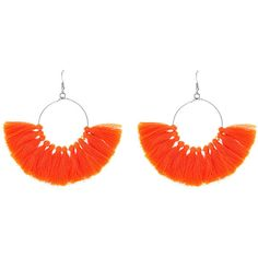 SheIn(sheinside) Fringe Tassel Hoop Earrings (£3.83) ❤ liked on Polyvore featuring jewelry, earrings, tassel hoop earrings, orange tassel earrings, dangling jewelry, orange earrings and tassel jewelry