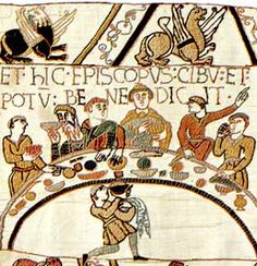 Anglo-Saxon feast. Love the tapestry!