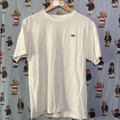 White Lacoste T Shirt (M) Lacoste T Shirt, Vintage Sportswear, Helly Hansen, Fred Perry, Reebok, Tommy Hilfiger, Calvin Klein, Street Wear, Ralph Lauren